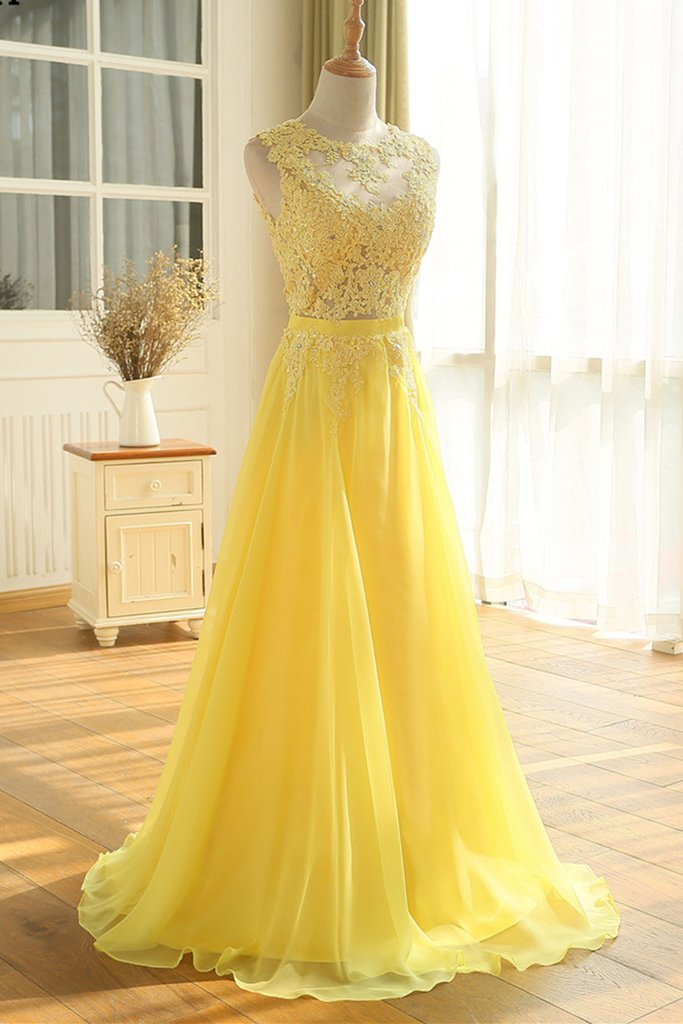 A-Line Princess prom Dresses Sleeveless Bateau Chiffon Ruched Sweep Brush Train Bridesmaid Dresses