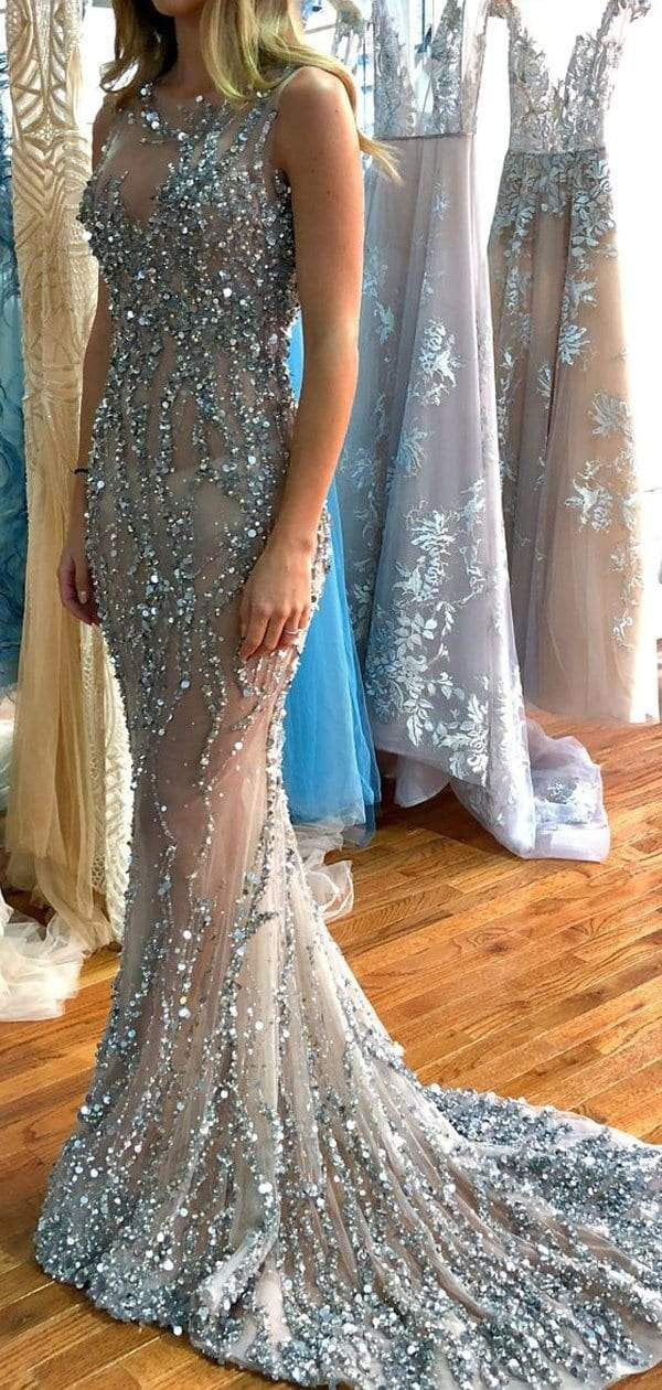 Silver Beading Sexy See Through Mermaid Prom Dresses ,PD00139