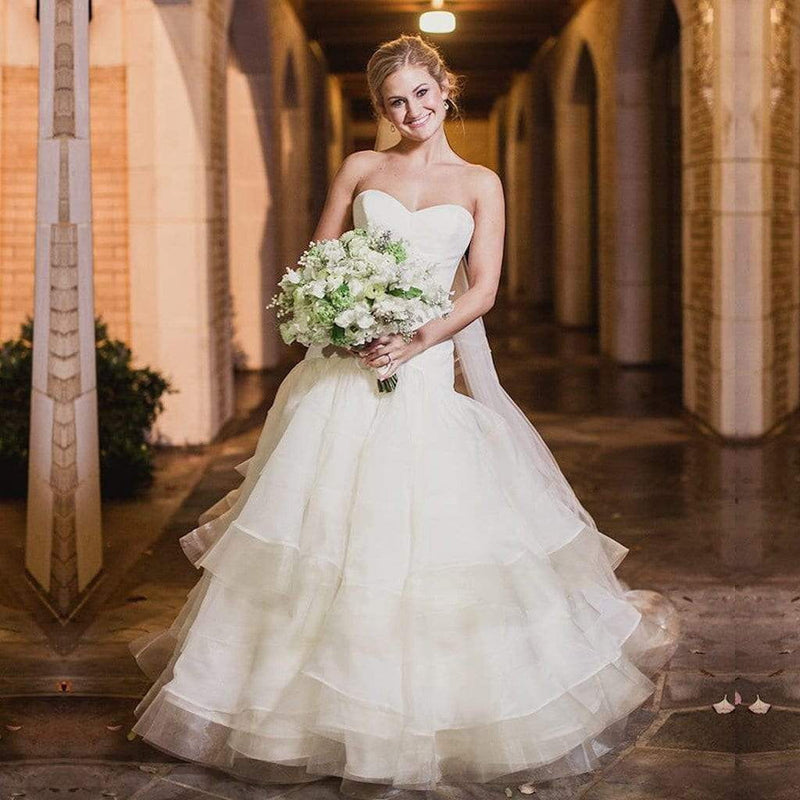 Simple Ivory Organza Sweetheart Strapless Tiered Wedding Dresses, AB1168