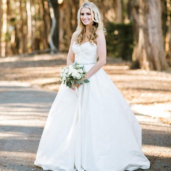 Simple Ivory Satin Sweetheart Strapless Ball Gown Vintage Wedding Dresses, AB1082