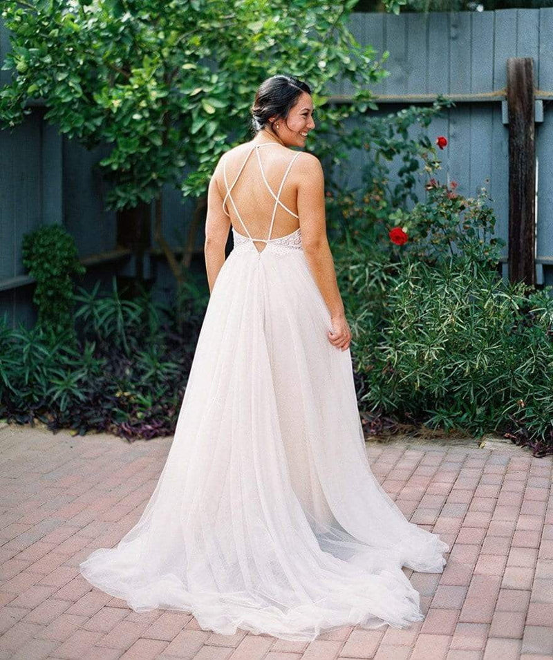 Simple Lace Tulle Backless Spaghetti Strap Long A-line Beach Wedding Dresses , WD0002
