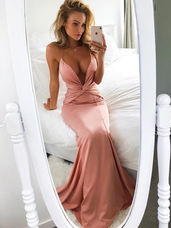 Simple Peach Spaghetti Strap Halter Sexy Mermaid Prom Dresses,PD00338