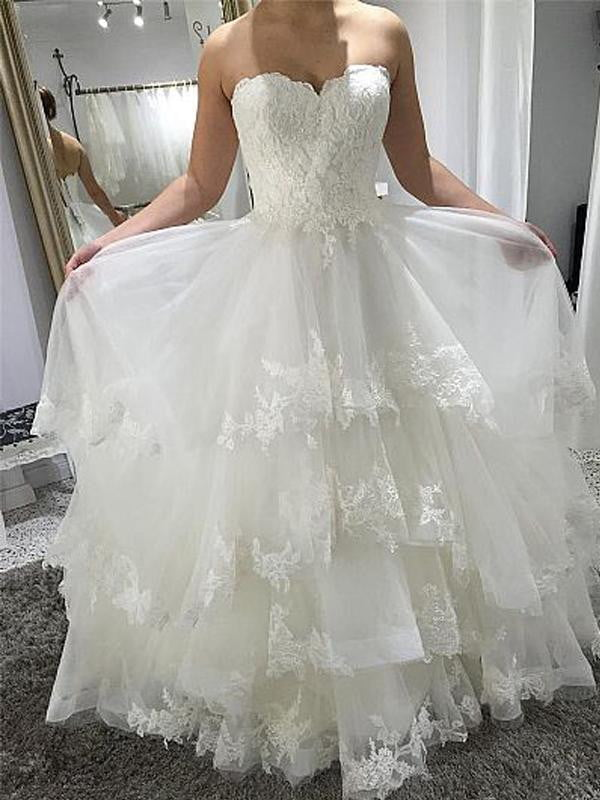 Simple Sweetheart Strapless Tiered Lace Up Back Wedding Dresses, AB1538