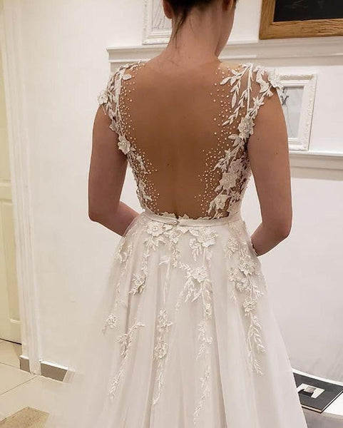 Simple Tulle Lace Illusion Back A-line Wedding Dresses , AB1506