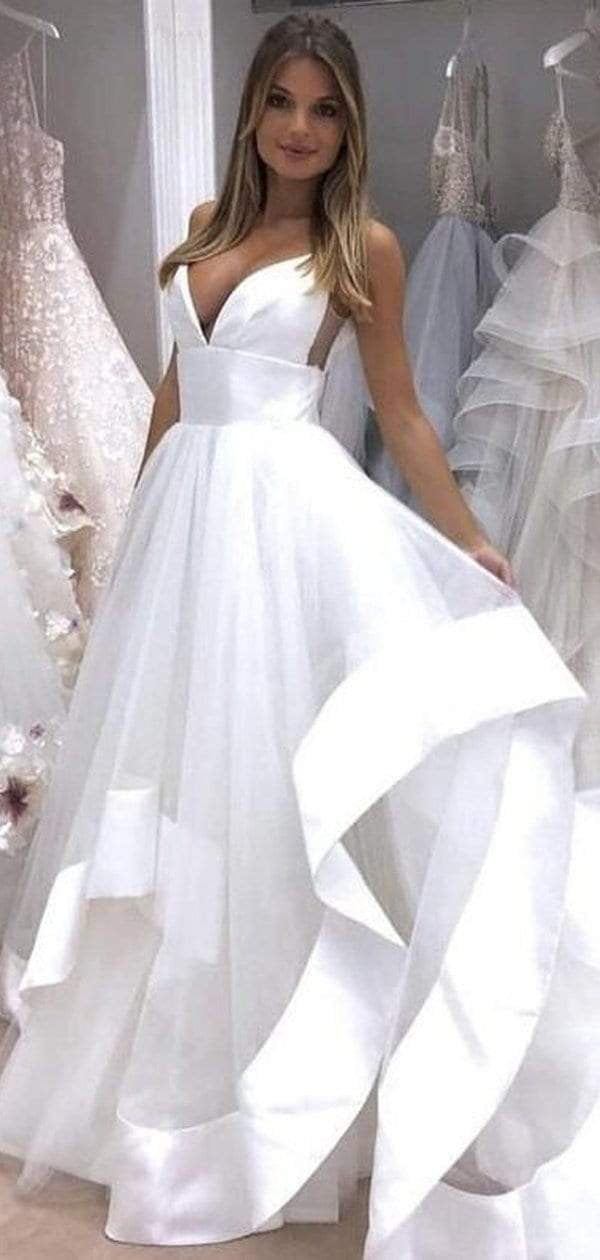Simple White Spaghetti Strap Backless Beach Wedding Dresses, AB1522