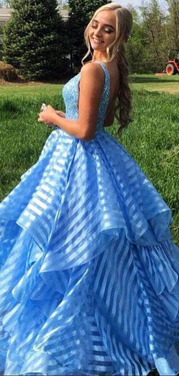 Sky Blue Beading Unique Organza Ball Gown Sleeveless Prom Dresses,PD00332