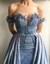 Sky Blue Lace Applique Off Shoulder Detachable Over-skirt Prom Dresses,PD00162