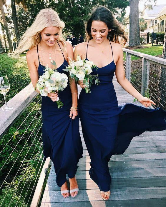 Spaghetti Strap Halter Navy Blue Simple Long Bridesmaid Dresses, AB4007