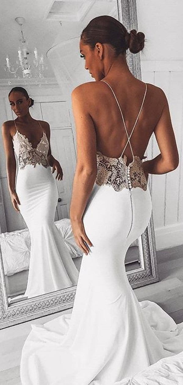 Spaghetti Strap Ivory Applique Mermaid Summer Wedding Dresses , AB1532
