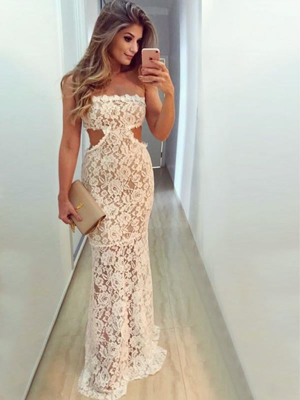 Strapless Ivory Lace See Through Mermaid Long Prom Gown  Dresses,PD00053