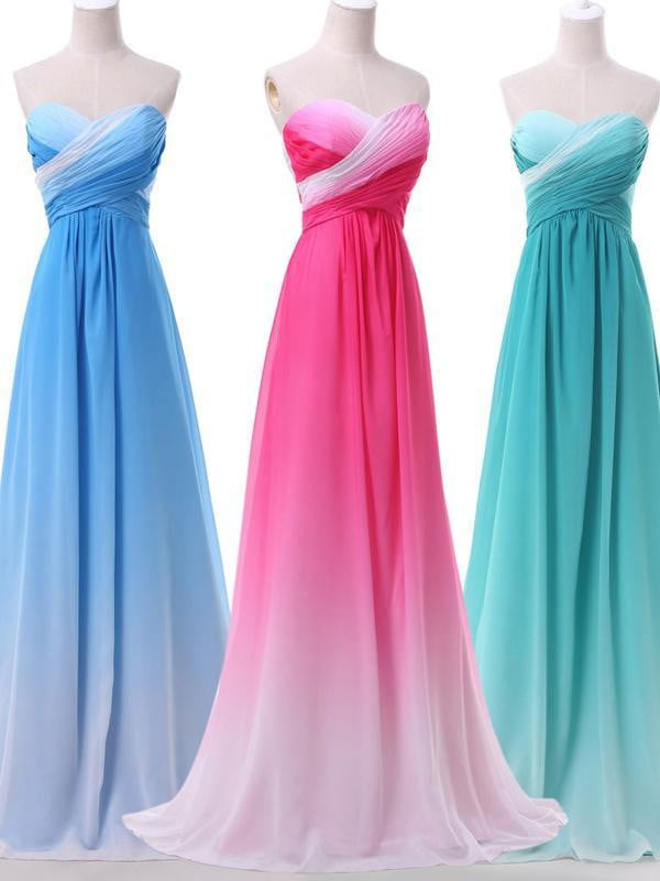 Strapless Sweetheart Gradient Chiffon Cheap Evening Party Bridesmaid Dresses Online,PD0191