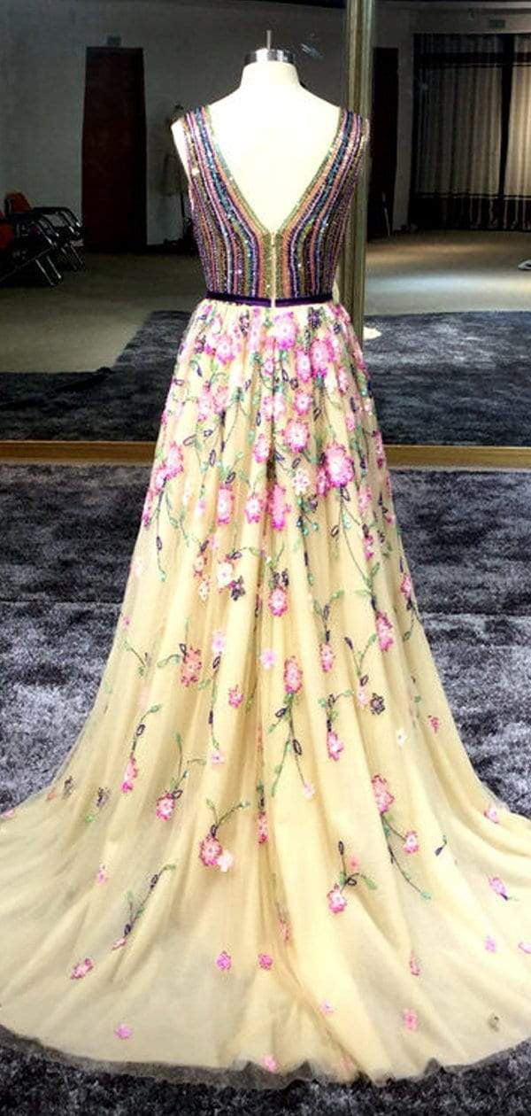 Stunning Colorful Beading Floral Tulle Sleeveless Prom Dresses.PD00286