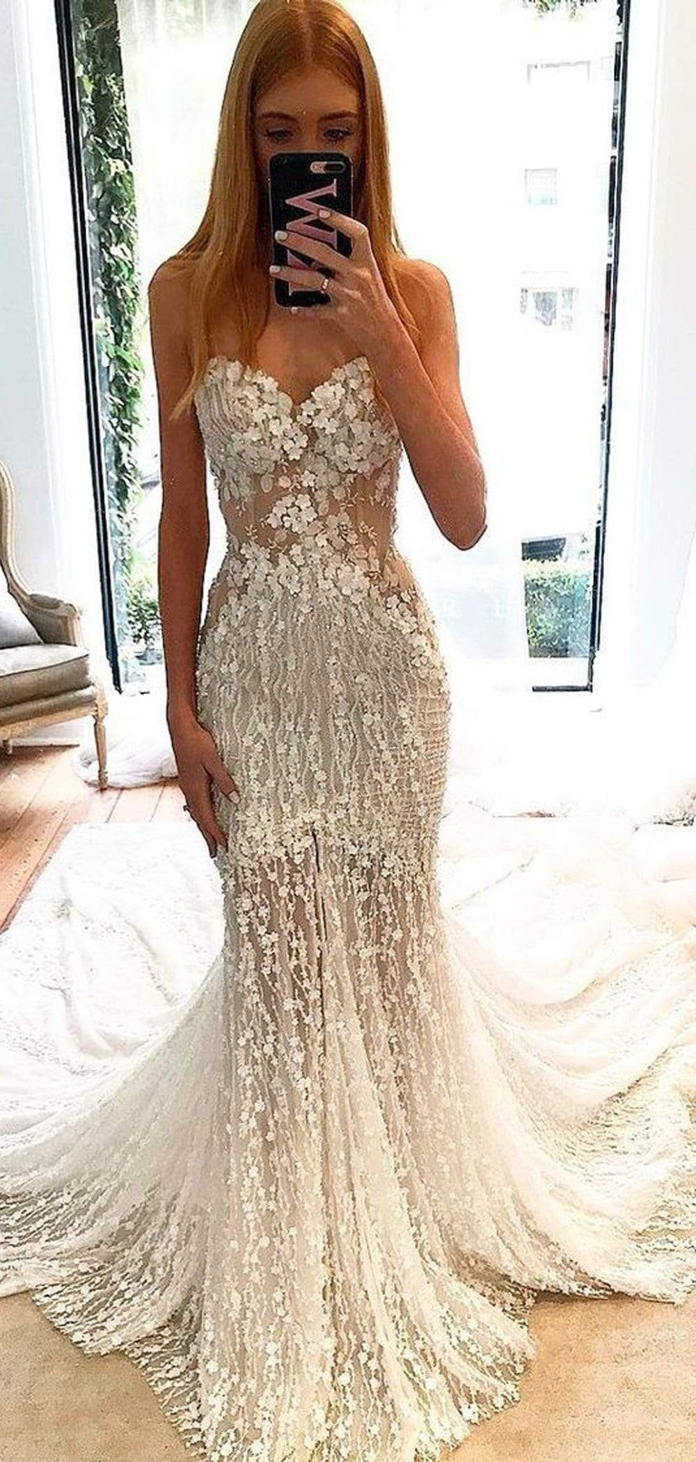 Stunning Lace Applique Sweetheart Strapless Mermaid Wedding Dresses , AB1509