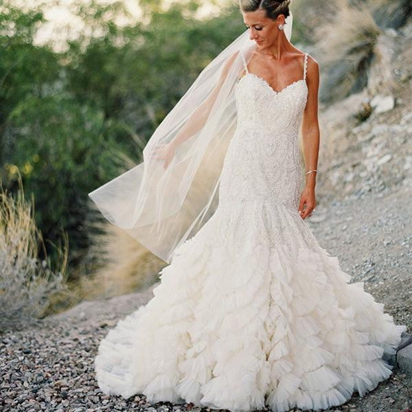 Stunning Lace Bead Ruffles Tulle Spaghetti Strap Wedding Dresses, AB1158