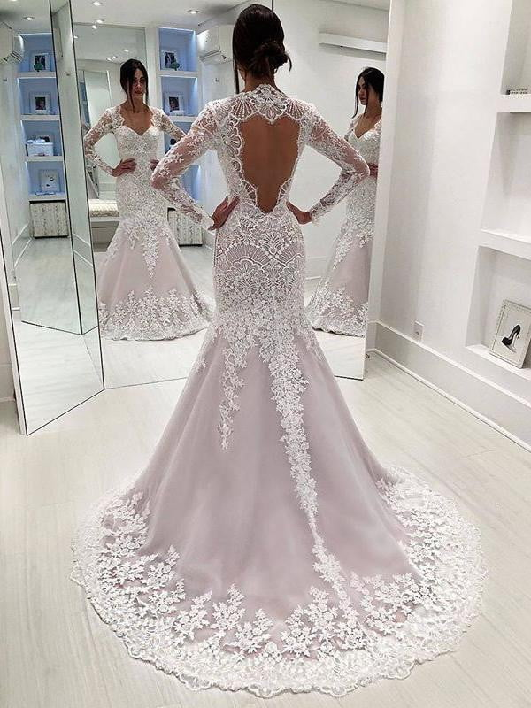 Stunning Lace Sequins Long Sleeve Mermaid Open Back Wedding Dresses, AB1514