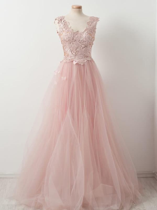 Sweet Pink Lace Top Tulle Scoop Neck Sleeveless Elegant Prom Dresses ,PD00104