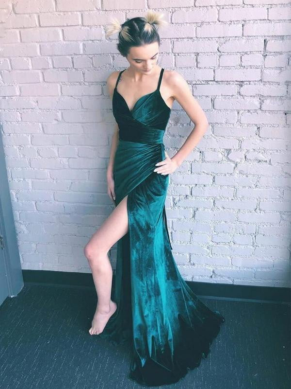 Teal Green Velvet Lace Up Back Side Slit Prom Dresses ,PD00307