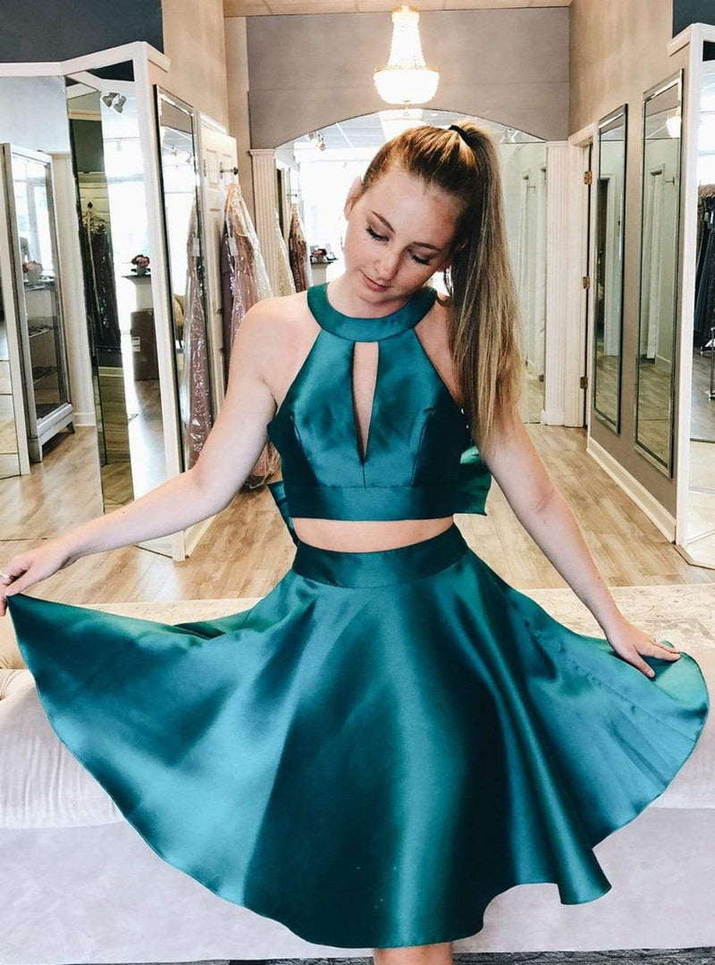 Teal Soft Satin Halter Two Piece Open Back Bow homecoming dresses, BD001185