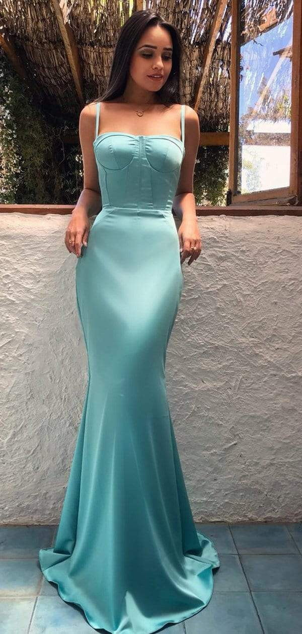 Tiffany Blue Soft Satin Spaghtti Strap Mermaid Fashion Prom Dresses.PD00219