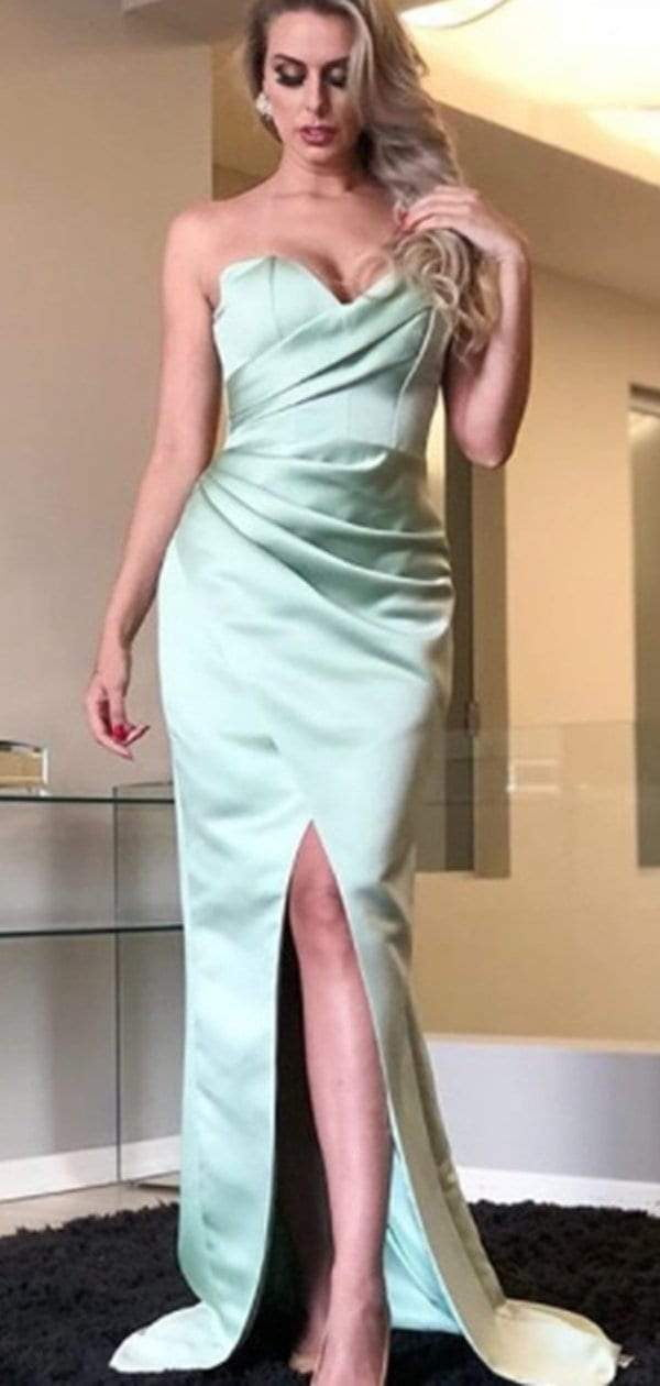 Tiffany Blue Sweetheart Strapless Mermaid Simple Cheap Prom Dresses,PD00300