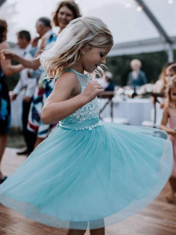 Tiffany Blue Tulle White Lace Short Flower Girl Dresses, FGS111