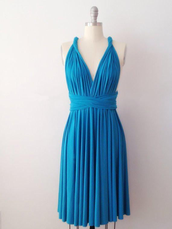 Turquoise Infinity Dress,Short Convertable Dress,Multiway Bridesmaid Dress