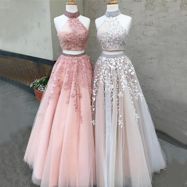 Two Piece Halter Applique Tulle Pink Beaded Open Back Prom Dresses For Teens, PD00092