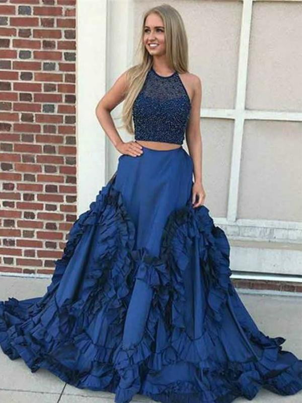 Two Piece Royal Blue Beaded A-line Gorgeous Bottom Sleeveless  Prom Dresses,PD00081