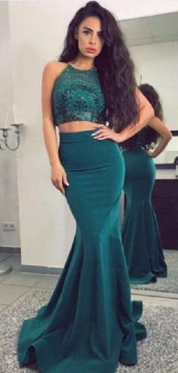 Two Piece Teal Sequin Jersey Mermaid Cheap Long Prom Dresses