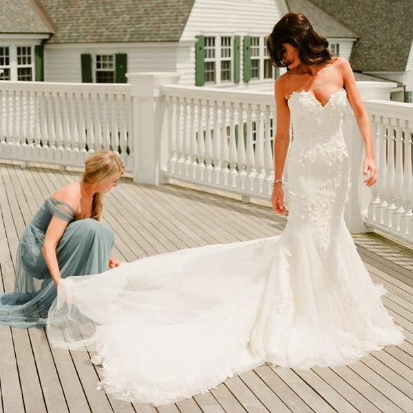 Unique Applique Sweetheart Strapless Mermaid With Train Wedding Dresses, AB1115