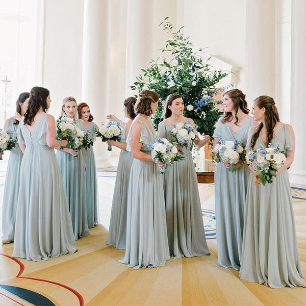 Unique Elegant Sleeveless V-neck Chiffon Light Dusty Blue Long Bridesmaid Dresses, WG12