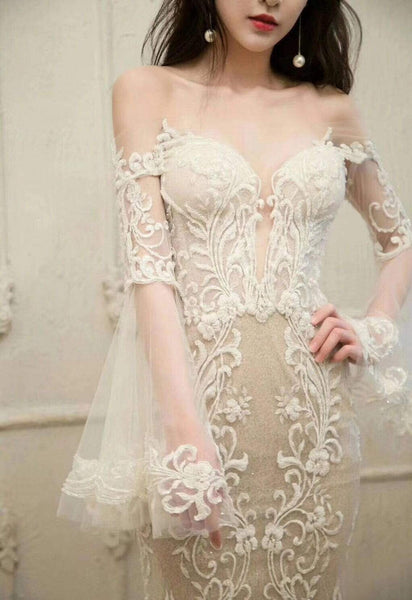 Unique Long Sleeve Off Shoulder Lace Mermaid Wedding Dresses, AB1508