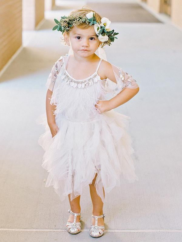 Unique Spaghetti Strap Ruffles Summer Flower Girl Dresses, FGS114