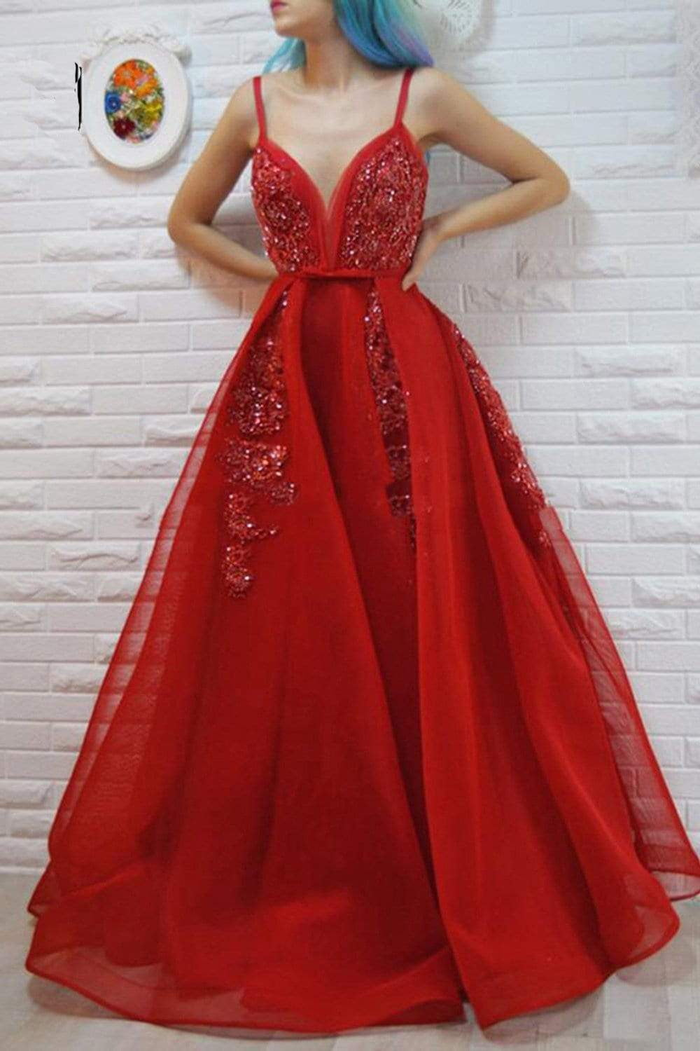 Sparkly Red Spaghetti Straps V Neck Floor Length Prom Dress with Beading P854