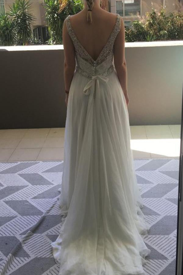 Sleeveless Deep V Neck Beach Wedding Gowns,Sequins Beading Wedding Dress W99