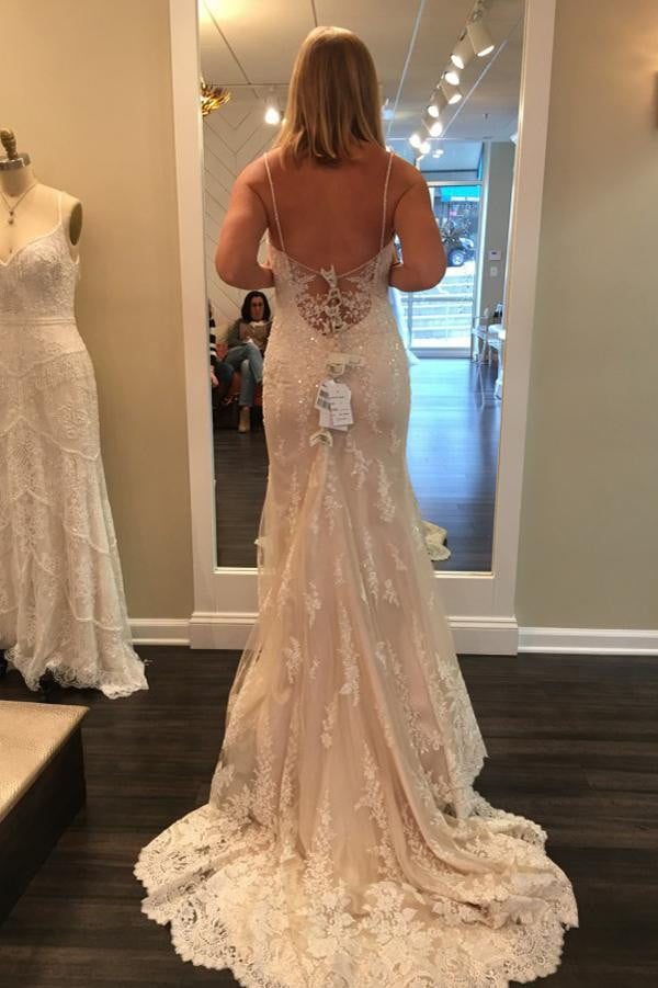 Sweetheart Spaghetti Sweep Train Beach Wedding Gowns,Lace Up Appliques Wedding Dress W98