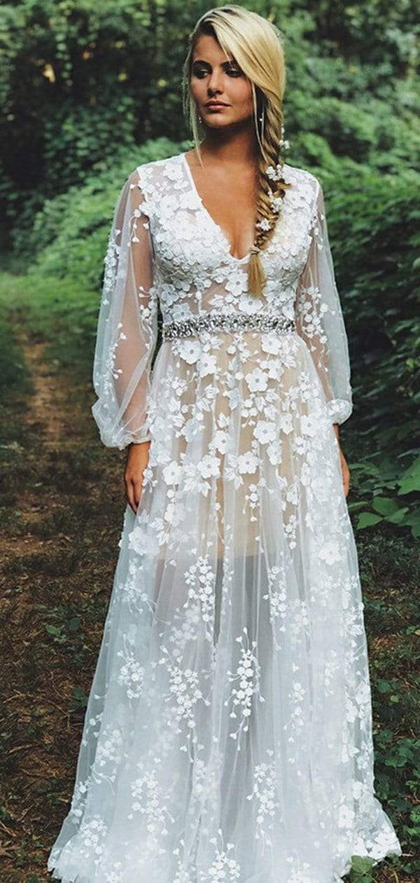 White Lace Illusion Long Sleeve Boho Wedding Dresses, AB1512