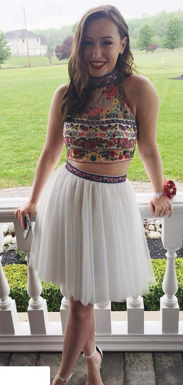White Two Piece Embroidery High Neck Open Back Homecoming Dresses ,HD0018