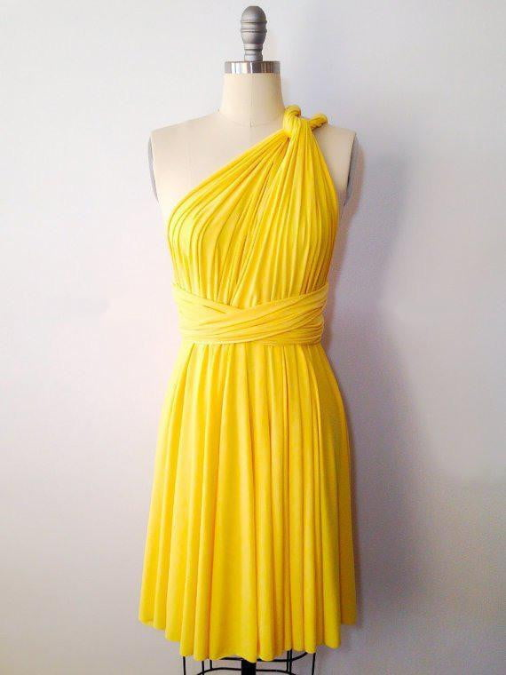 Yellow Short Convertable Dress,Multiway,Infinity Bridesmaids Dress