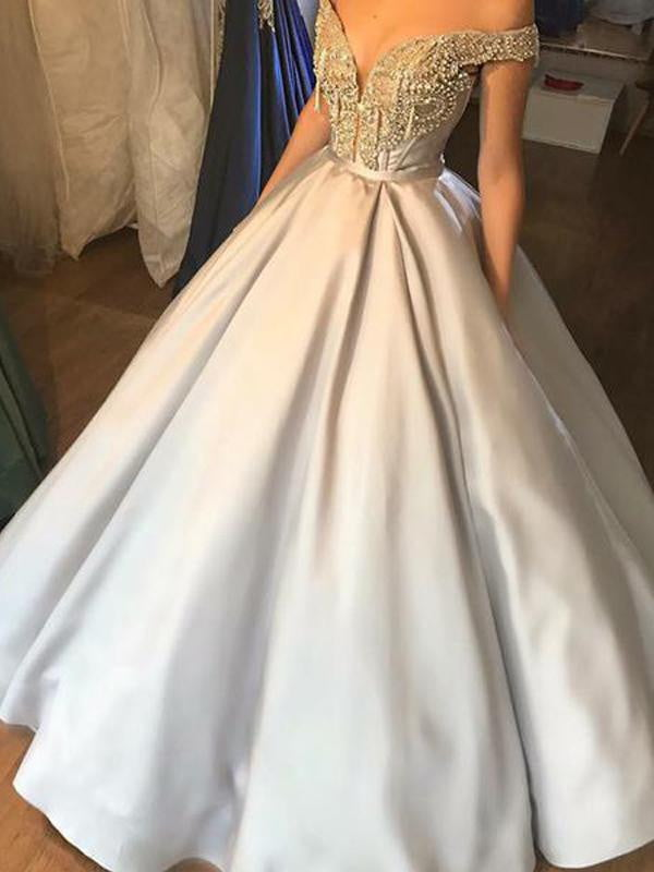 Yellow Satin Beading Off Shoulder Ball Gown Prom Dresses.PD00241