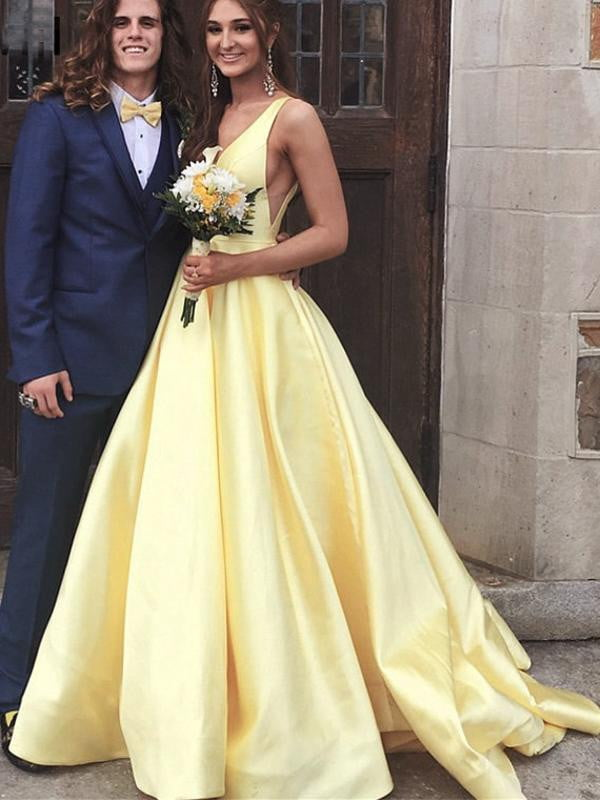 Yellow Satin V-neck V-back Sleeveless Elegant Prom Dresses,PD00331