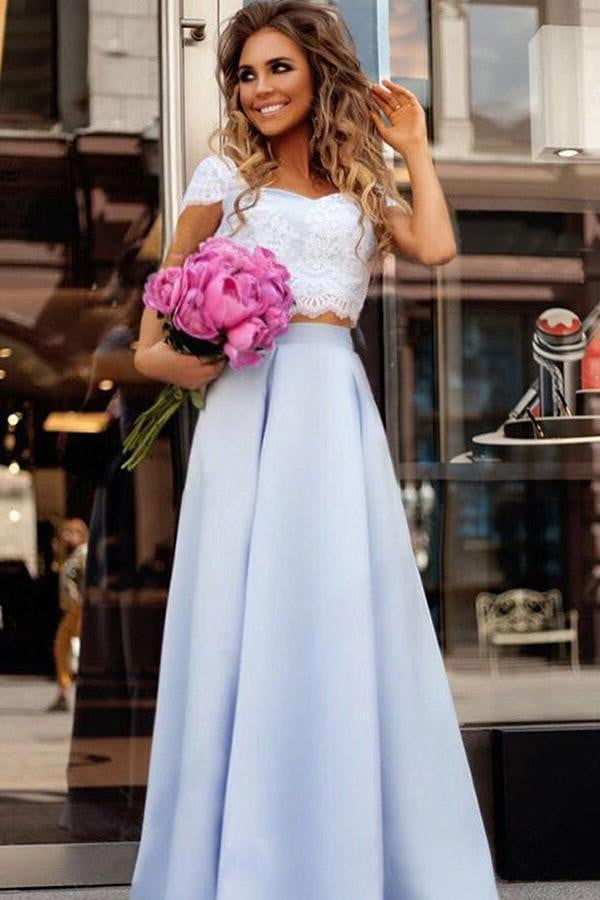 Unique Two Pieces Cap Sleeves Sweetheart Floor Length Lace Prom Dresses P922