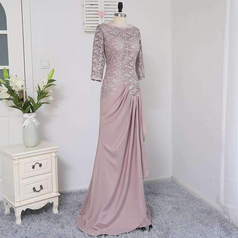 Sheath Column Scoop Neck Floor-Length Chiffon Mother of The Bride Dress with Ruffle Beading Appliques Lace Sequins