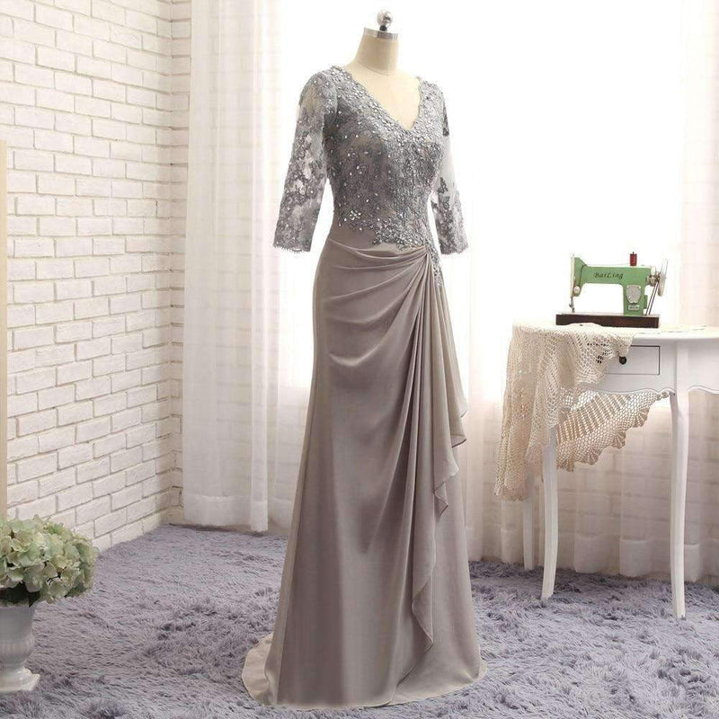 A-line 3/4 Sleeves Chiffon Lace Wedding Party Dress Mother Dresses For Wedding