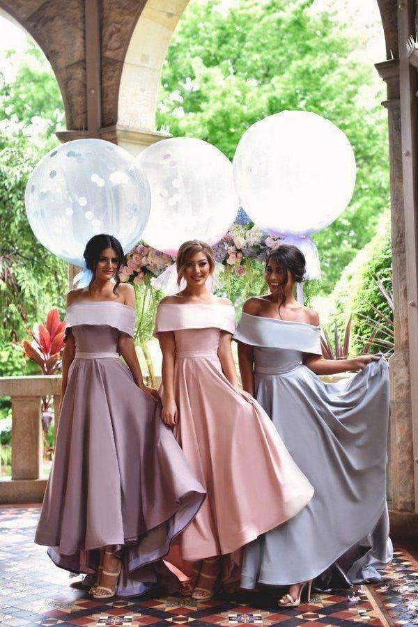 A Line Asymmetrical Off Sholder Mid Back Bridesmaid Dress B303