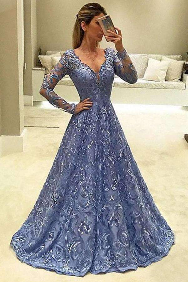 A Line Brush Train Deep V Neck Long Sleeve Appliques Prom Dress,Party Dress P426