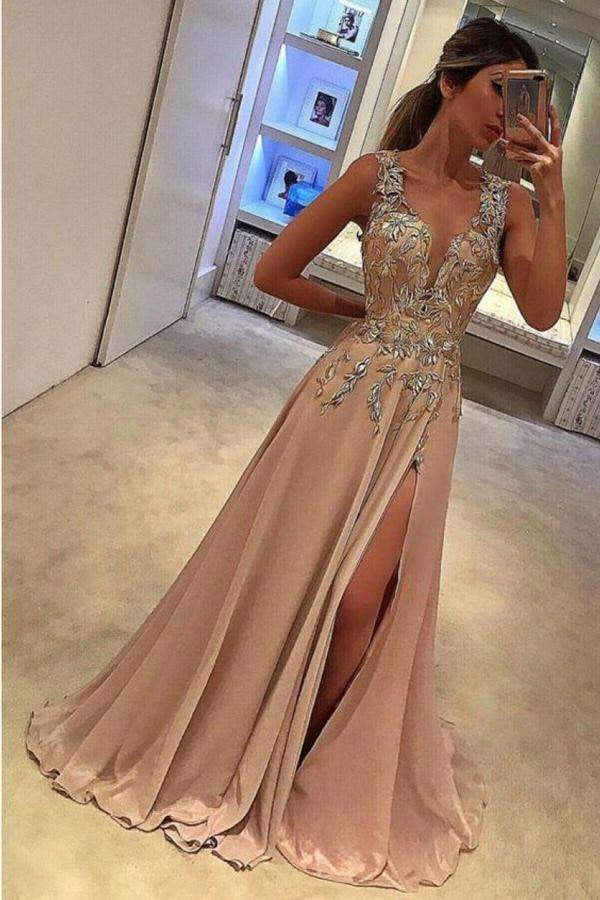 A Line Brush Train Deep V Neck Sleeveless Appliques Side Slit Prom Dress,Party Dress P510