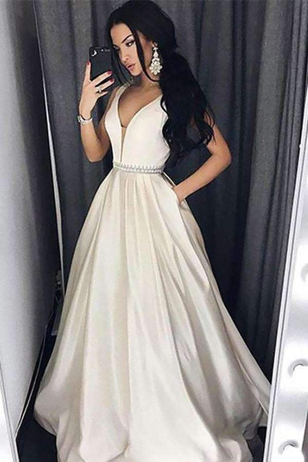 A Line Brush Train Deep V Neck Sleeveless Simple Prom Dress,Party Dress P512