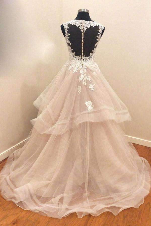 A Line Brush Train Sweetheart Sleeveless Ruffles Appliques Wedding Dress,Perfect Wedding Gowns W279
