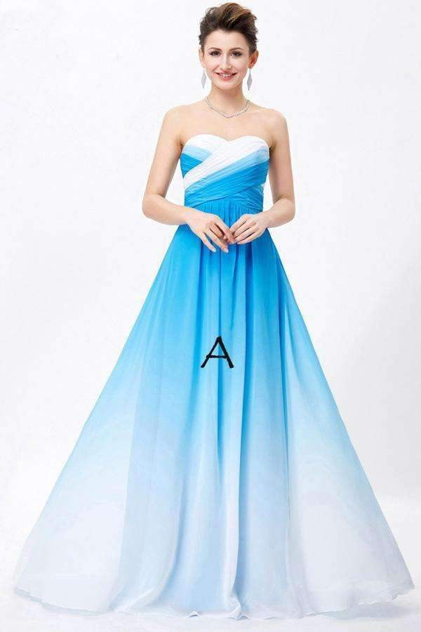A Line Brush Train Sweetheart Strapless Sleeveless Chiffon Lace Up Prom Dress,Formal Dress O17
